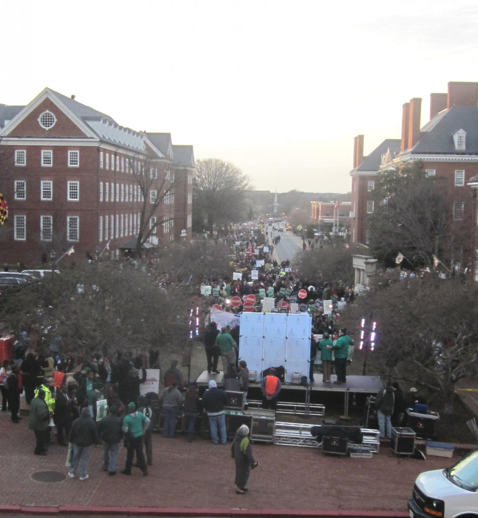 "Looking west from the State House steps, thousands fill Lawyer's Mall, Bladen Street and Rowe Boulevard for the ""Keep the Promise"" rally against pension changes in 2011."