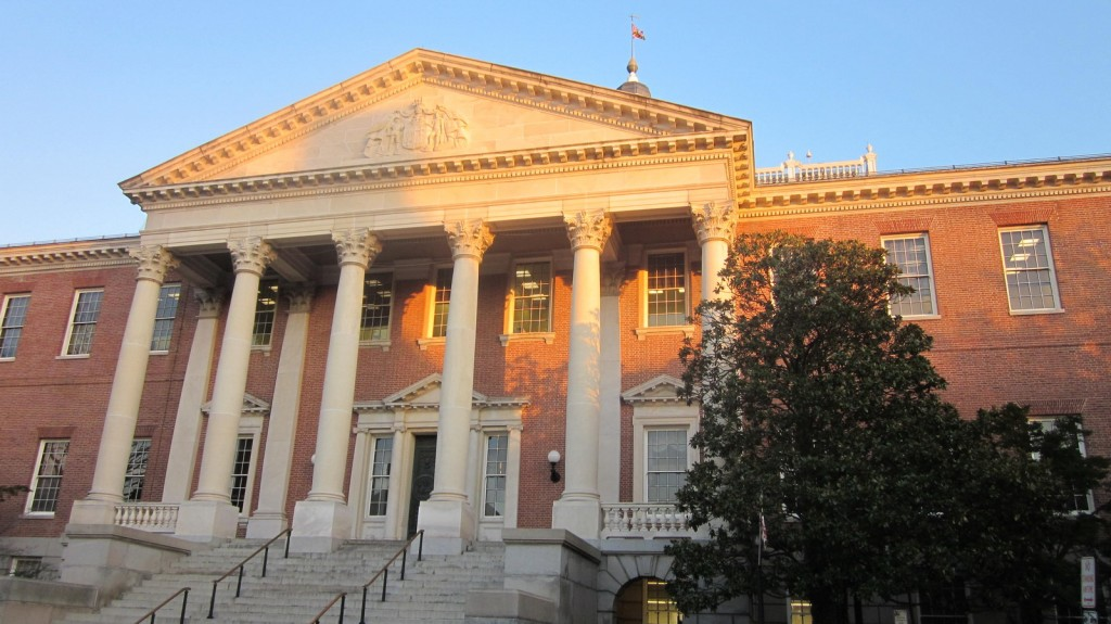 State House at sunset.