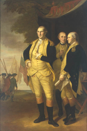 "This painting titled ""Washington, Lafayette and Tilghman at Yorktown,"" by Charles Willson Peale has hung in the State House since 1784 and is likely worth over $20 million."