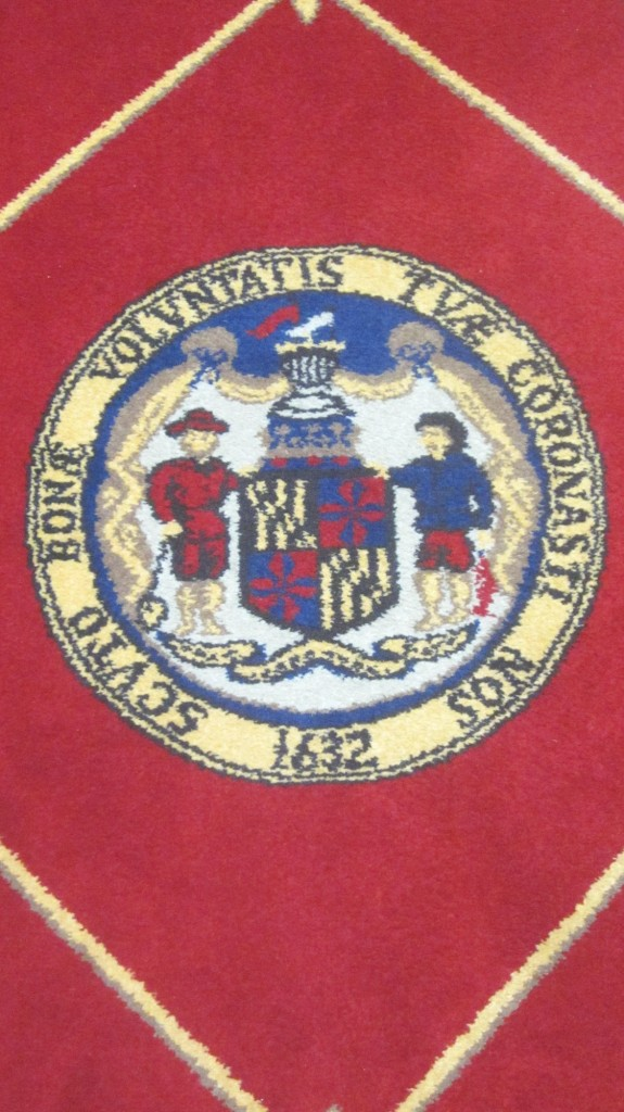 State seal on rug of Senate chamber