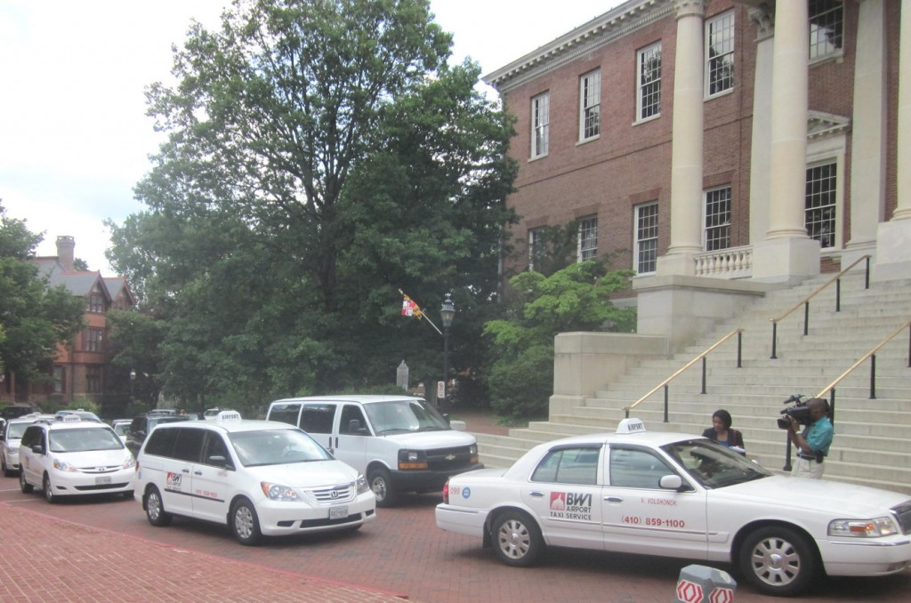 BWI cabs protest at the State House.