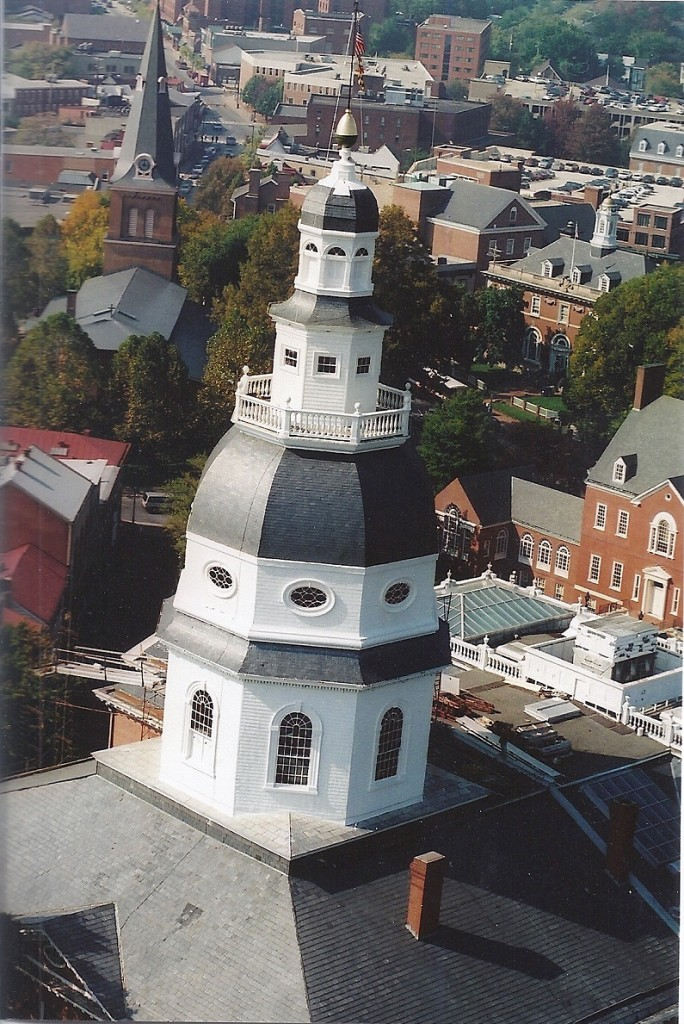 State House dome in 1995 from a helicopter by Tom Darden.