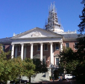 State House with scaffolding on dome.