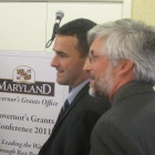 Federal Controller Danny Werfel, left, and Eric Brenner of the Governor's Grants Office.