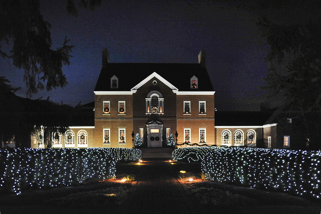 Government House, the governor's mansion, decorated for Christmas.