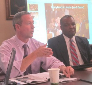 Gov. Martin O'Malley and Prince George's County Executive Rushern Baker brief reporters on India trip.