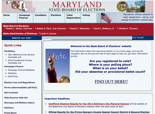 Maryland State Board of Elections site