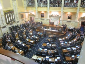 Same-sex marriage bill debated on the floor of the House of Delegates.