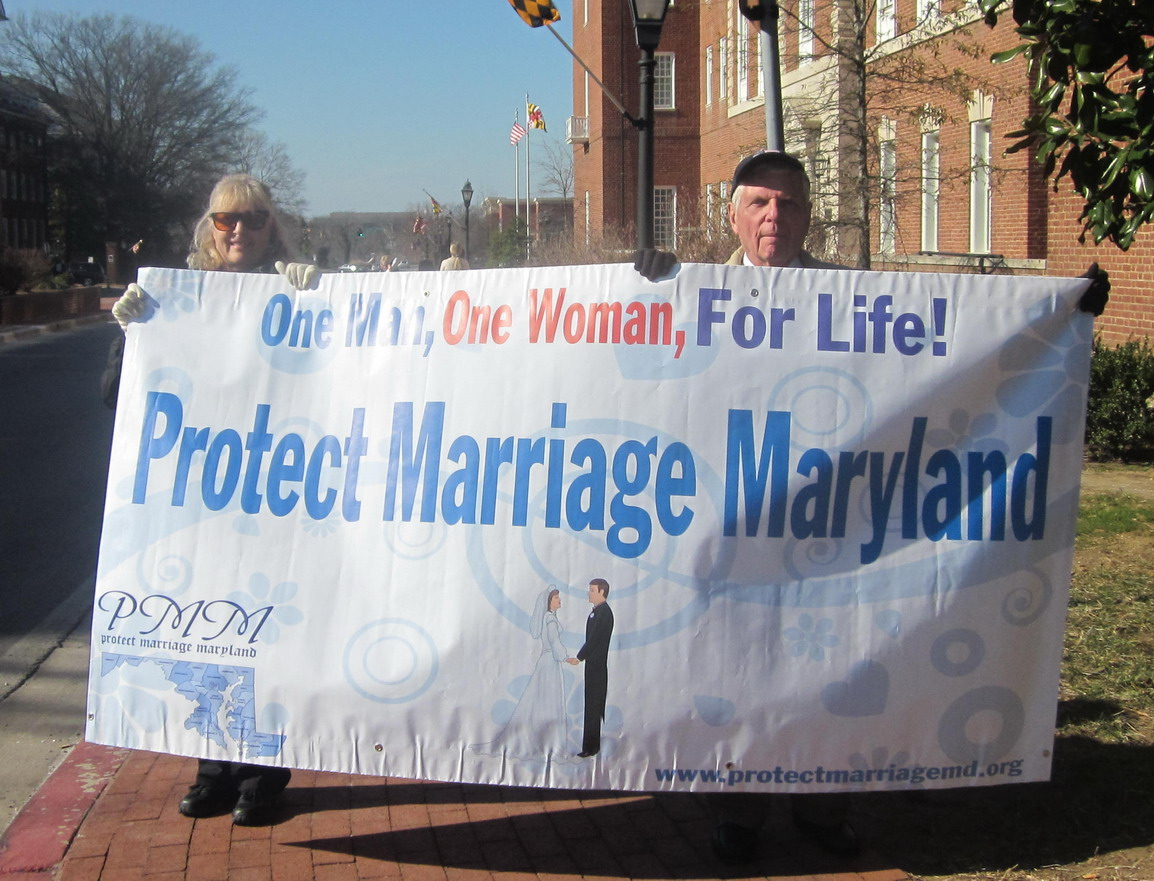 Protect Marriage says the demonstrators sign.