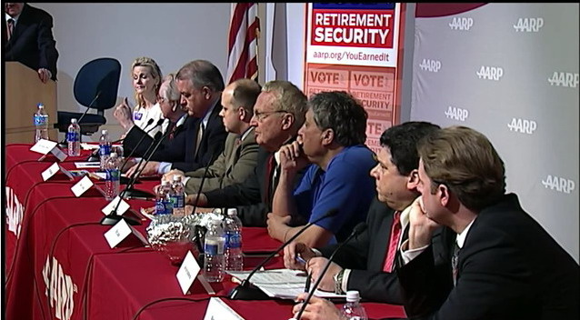 6th District Republicans Debate: from left, Kathy Afzali, Roscoe Bartlett, David Brinkley, Robert Coblentz, Robin Ficker, Peter James, Joe Krysztoforski, Brandon Rippeon