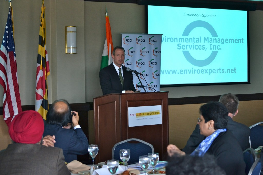 Gov. Martin OMalley addresses Maryland and Indian business leaders.