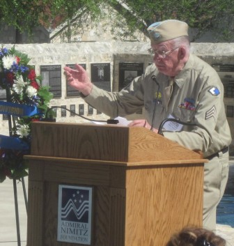 Sgt. Leonard W. Lazarick speaks at plaque dedication.