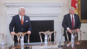 Senate President Mike Miller and House Speaker Michael Busch await bill signing Tuesday.