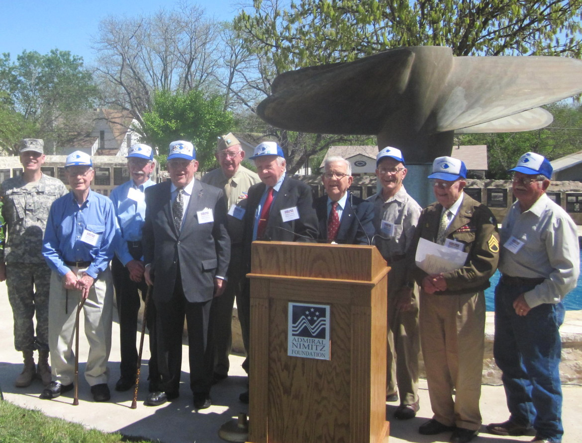 96th Infantry Division veterans at Fredericksburg, Tex., ceremony.