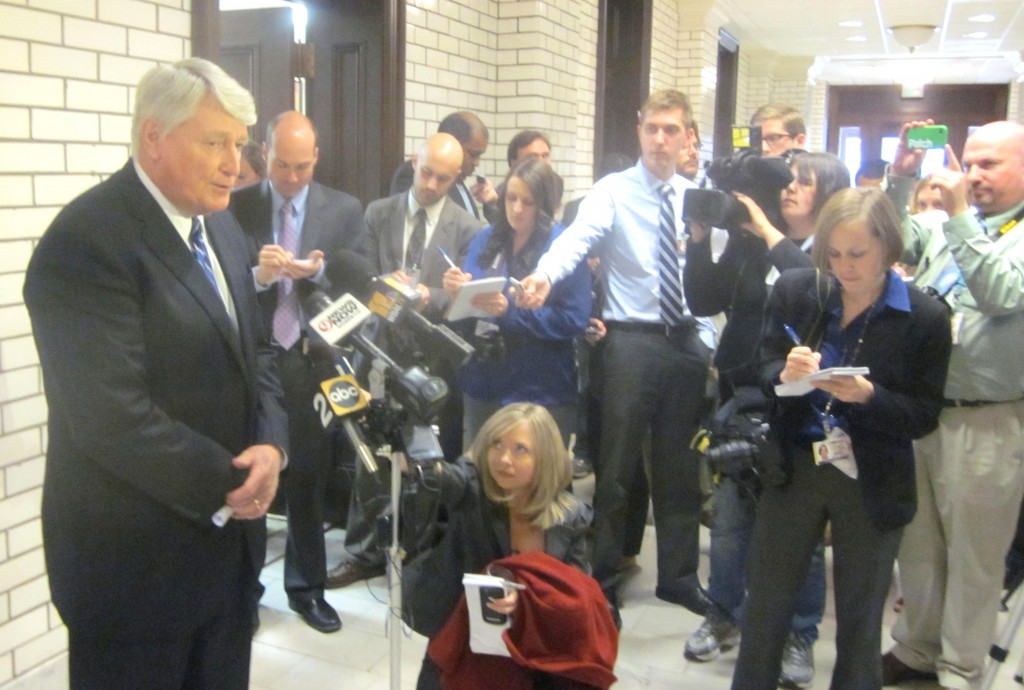 House Speaker Michael Busch talks to reporters Monday afternoon.
