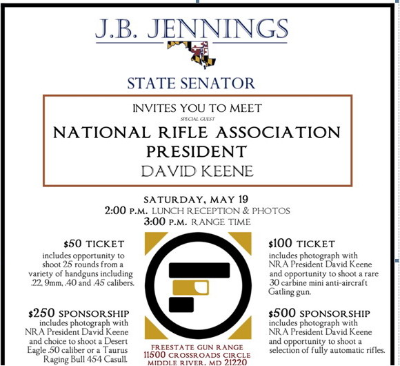 J.B. Jennings invitation to fundraisder at shooting range.