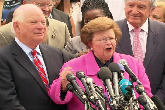 Sens. Barbara Mikulski and Ben Cardin, left, on steps of U.S. Supreme Court Thursday, June 28.