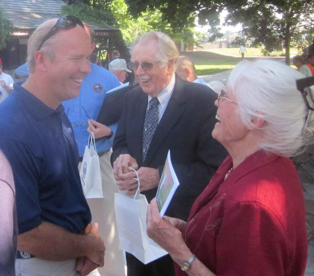 Democratic congressional candidate John Delaney, left, shares a laugh with Rep. Roscoe Bartlett and his wife Ellen.