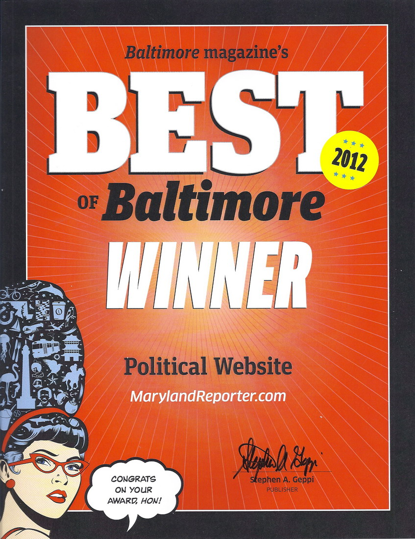 Best of Baltimore Winner certificate