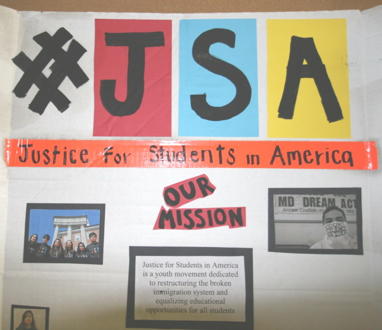 Justice for Students poster board