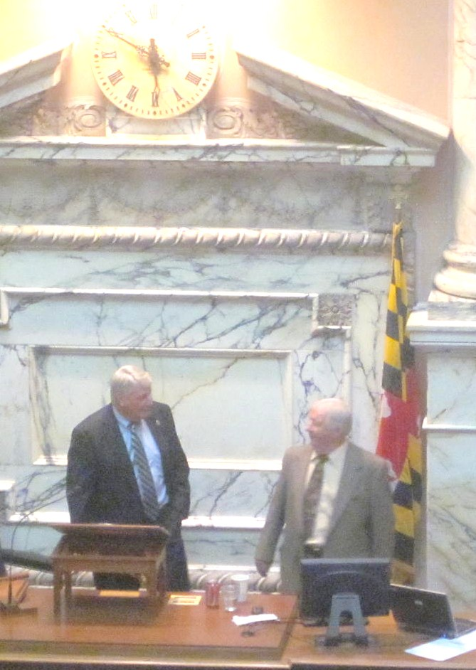 House Speaker Michael Busch, left, and Del. Sonny Minnick after Minnick offered slots for veterans amendment.