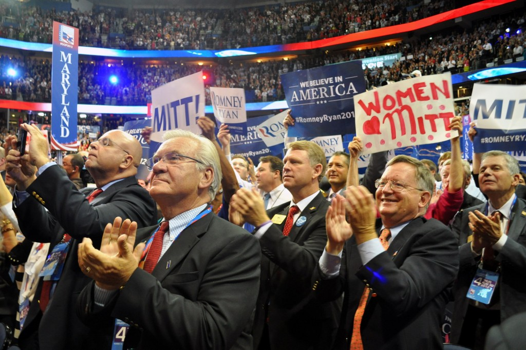 Maryland delegates applaud Mitt Romney. (Capital News Service)