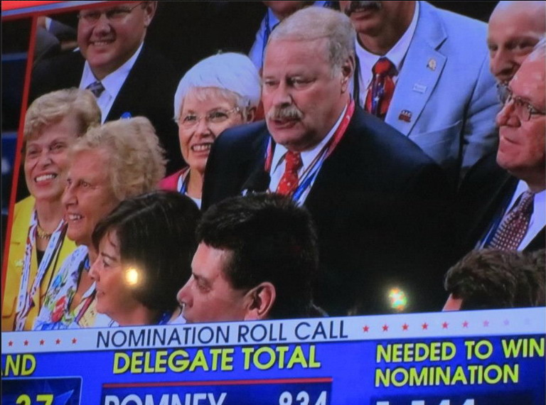 Maryland delegation at Republican National Convention during roll call for president.