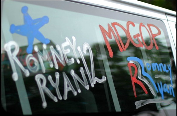 A Maryland GOP van at the Republican National Convention in Tampa.