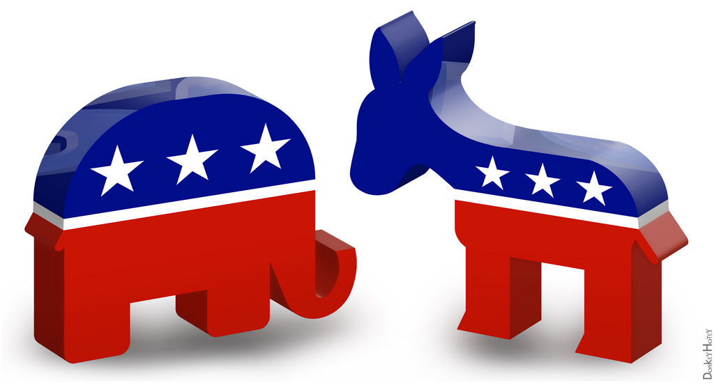 GOP elephant Democratic donkey logos by DonkeyHotey