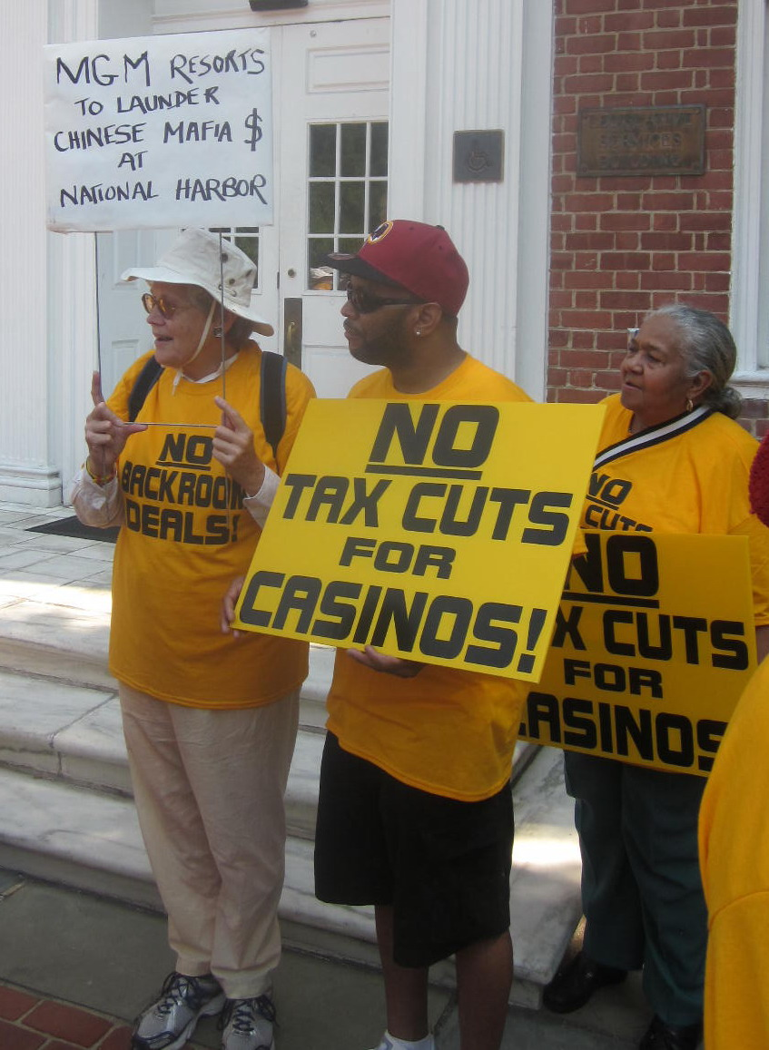 Demonstrators protect Prince Georges casino bill.