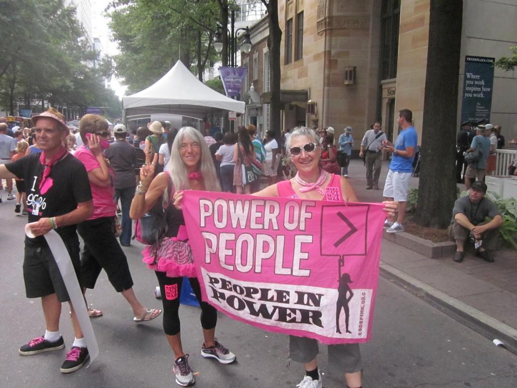 Josie Lenwell, left, and Karen Boyer of Code Pink