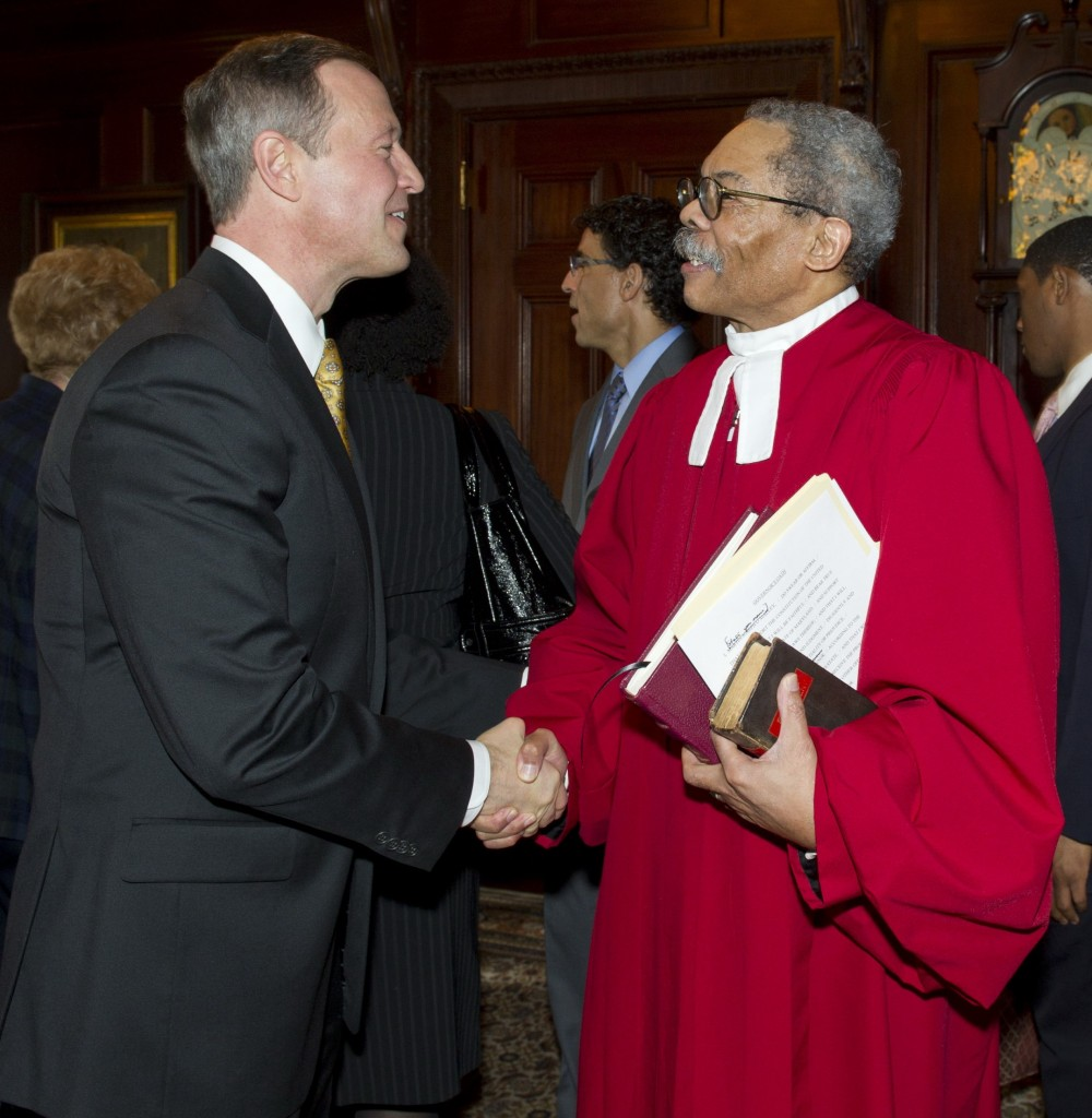 Chief Judge Robert Bell greets Gov. Martin O'Malley after swearing him in Jan. 19, 2011.