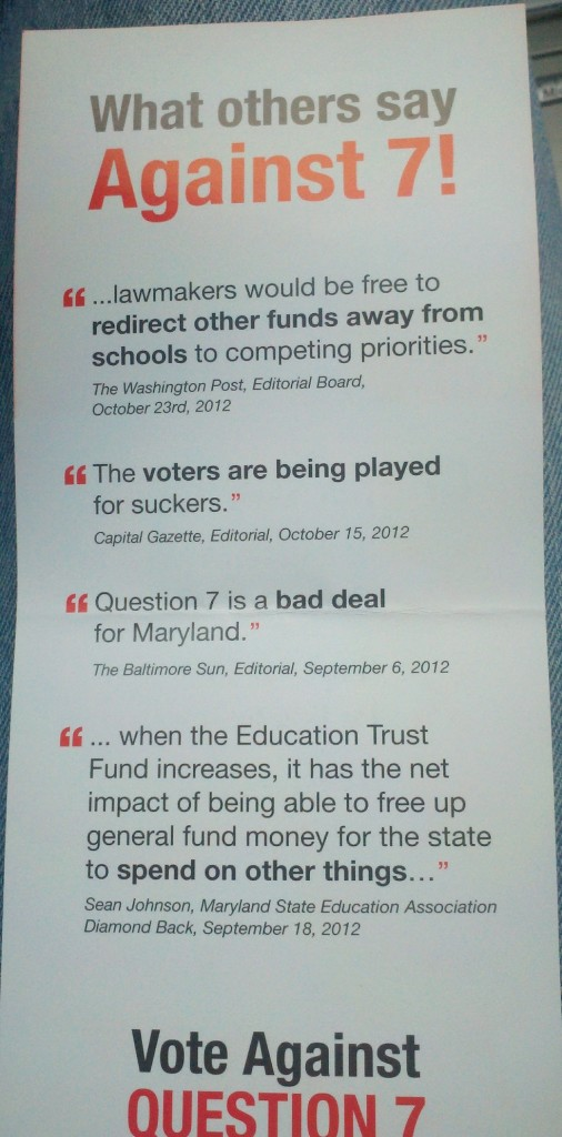 An antigambling handout that the teacher' union objects to.