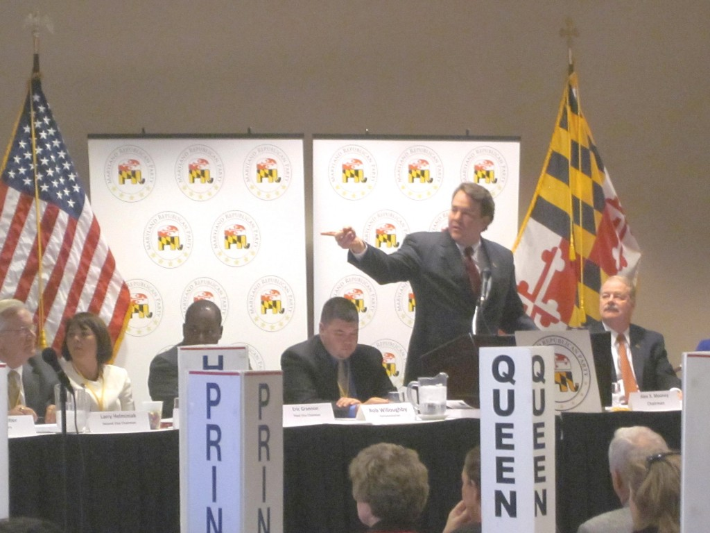 Maryland Republican Chairman Alex Mooney speaks at party convention.
