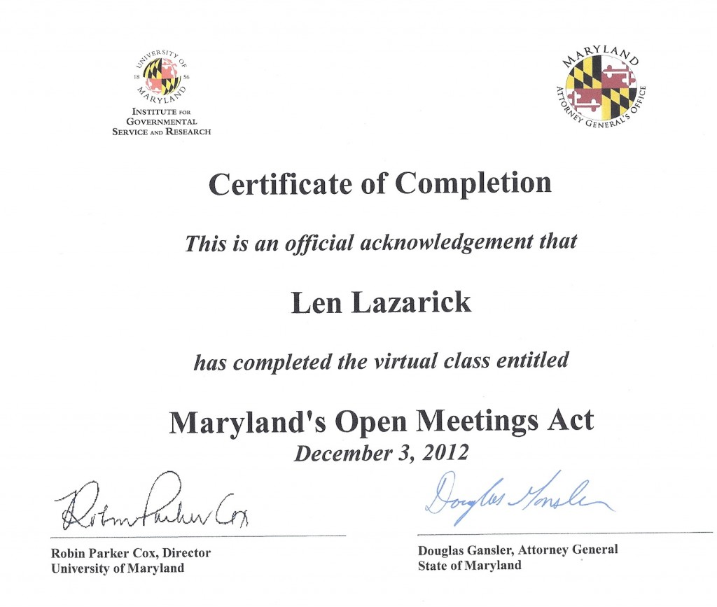 Certificate of Completion for Open Meetings Course