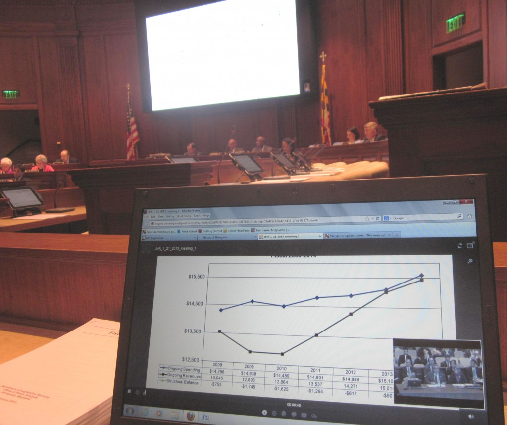 The graph on the new Jumbotron in the Joint Hearing Room is obscured due to backlighting, but both the graph and the testimony is shown being simulcast in the foregroun.