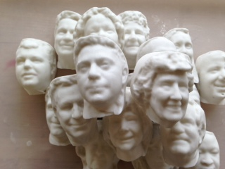 Some of the manufactured heads of members of the General Assembly, some more recognizable than others.