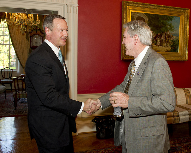 Gov. Martin O'Malley shakes hands with Public Safety Secretary Gary Maynard at a reception in Maynard's honor at the governor's mansion April 19, 2012. Photo by MdGovPics.