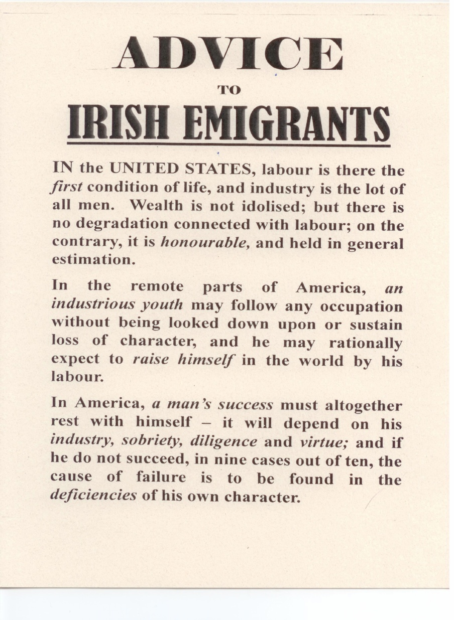 Advice to Irish immigrants