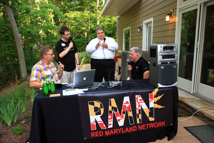 Larry Hogan, far right, talks to Red Maryland podcast. From left, Mark Newgent, Greg Kline and Brian Giffiths.