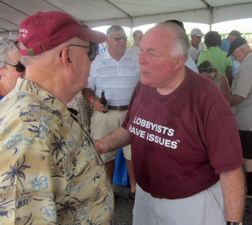 Host with the most: Lobbyist Bruce Bereano was the main greeter at his tent, the largest and most elaborate of the corporate digs at the Tawes crab feast.