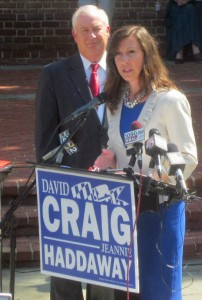 Harford County Executive David Craig, running for governor, chose Del. Jeannie Haddaway to be his ticket mate for lieutenant governor.