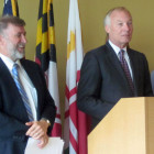 Comptroller Peter Franchot, right, announces small business outreach for health care at Howard Community College, with Vincent DeMarco, president of the Maryland Health Care for All Coalition.