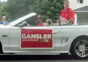 "Attorney General Doug Gansler in car at Arbutus Fourth of July parade with sign that says ""Gansler Governor"""