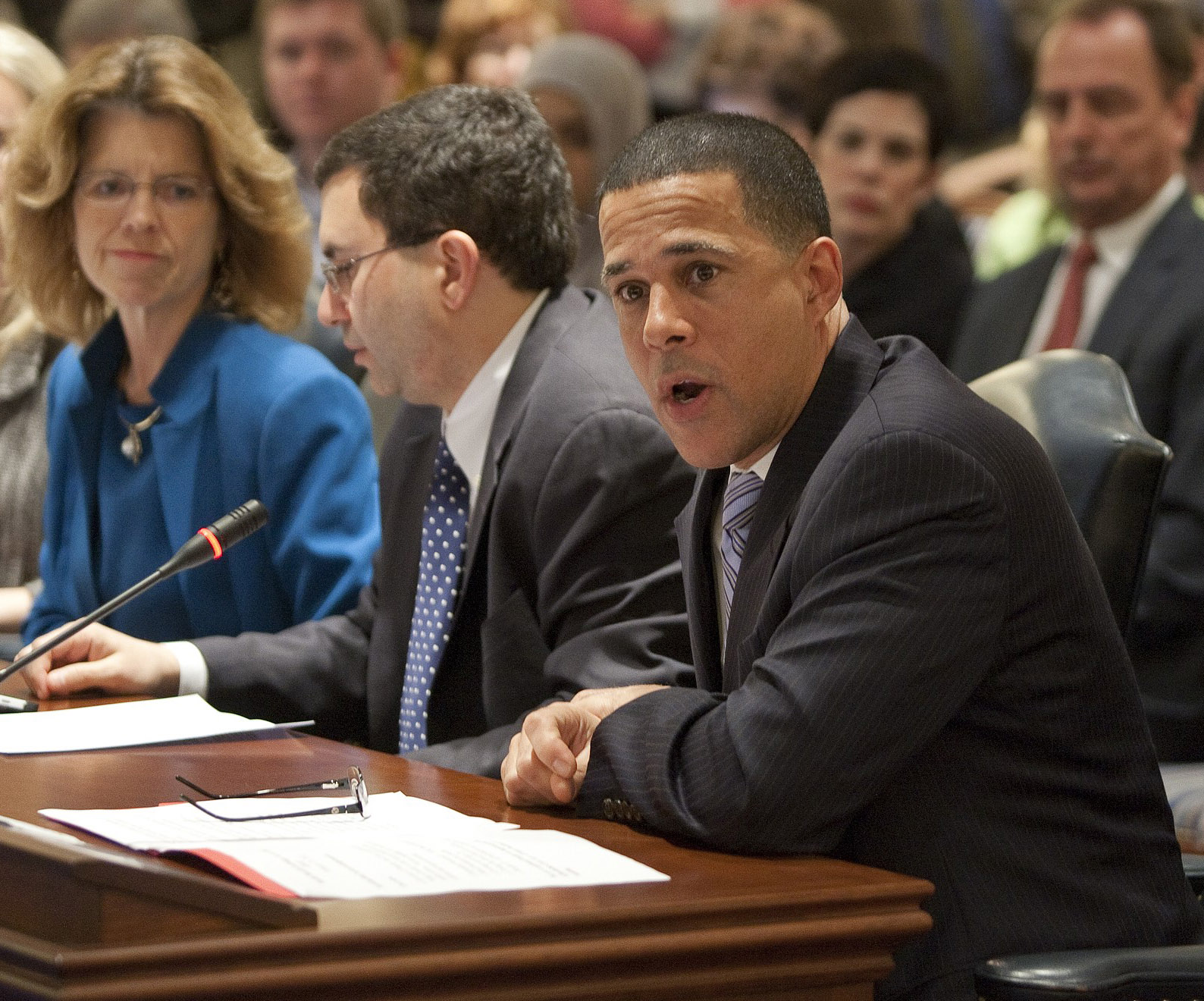 From right: Lt. Gov. Anthony Brown, Health Secretary Joshu Sharfstein and director of health care reform Carolyn Quattrocki testify on legislation in 2012 (MdGovPics)