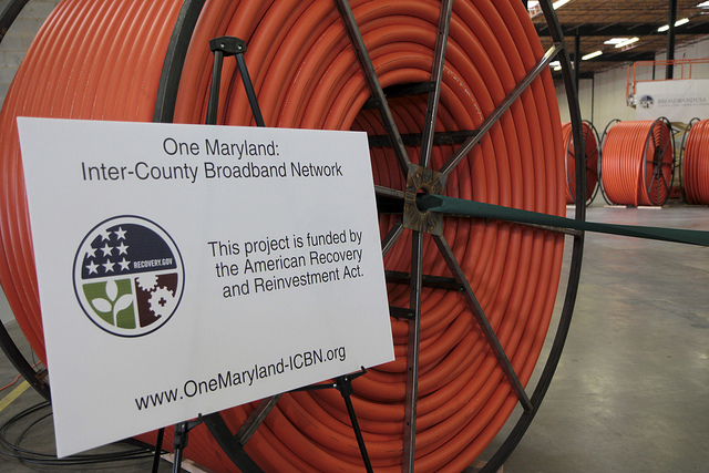 A large coil of fiber optic cable.