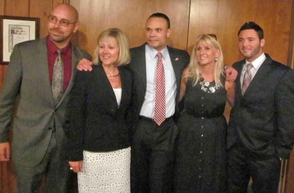 Congressional candidate Dan Bongino with, from left, Republican delegate candidates Darren Wigfield (3B), Wendi Peters (4), Carol Loveless (9B), and Christian Miele (8)