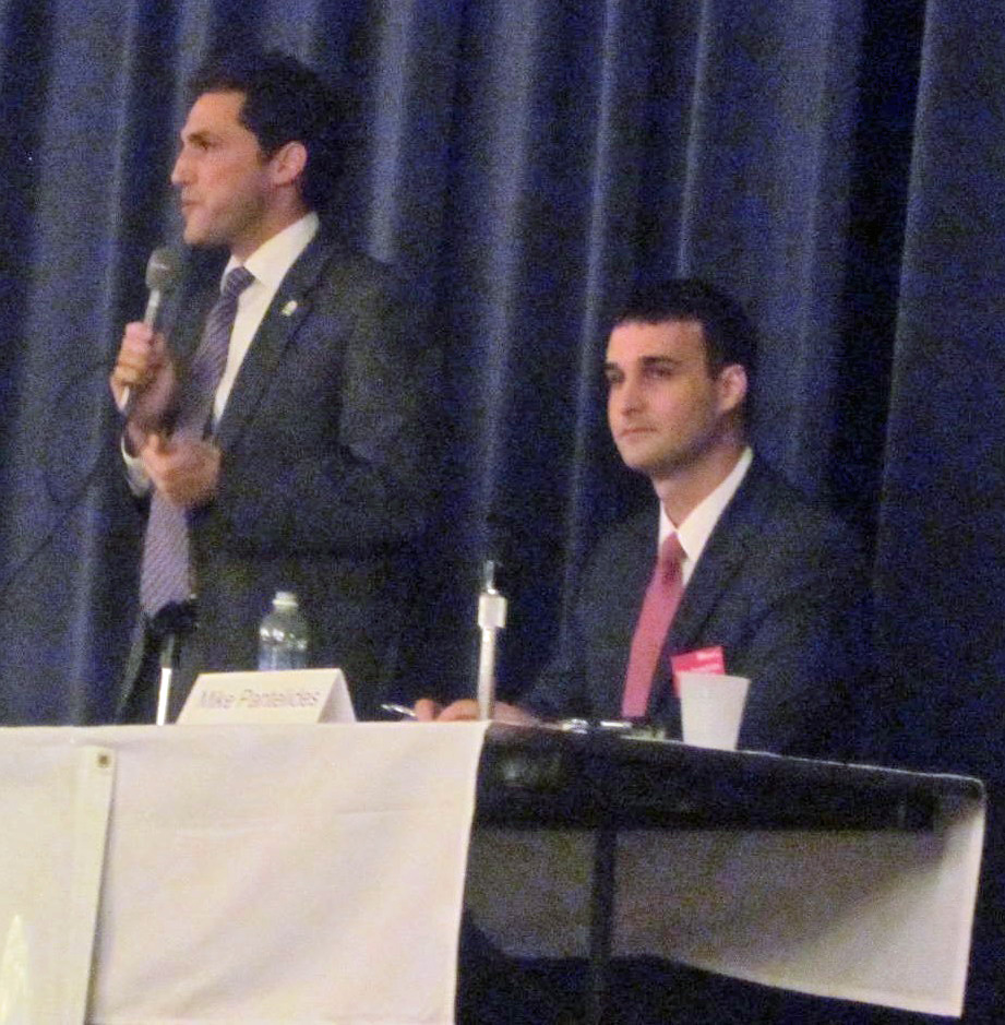 Mayor Josh Cohen, left, and challenger Mike Pantelides
