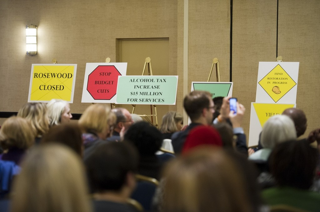 At a Maryland Developmental Disabilities Coalition meeting in 2012, signs showed some of the progress that had been made.