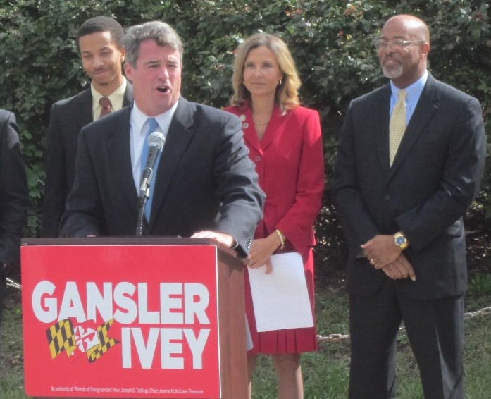 Attorney General Doug Gansler announces Del. Jolene Ivey as running mate in race for governor. Husband Glenn Ivey, former state's attorney for Prince George's County is too the right.
